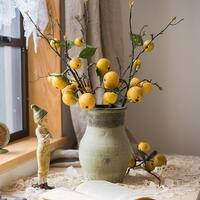 """G Home Collection Rustic Artificial Yellow Apple Pear Stem 27"""" Tall"""