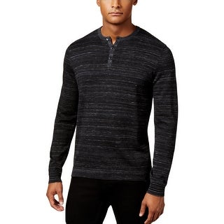 Calvin Klein Mens Henley Shirt Space Dyed Long Sleeve