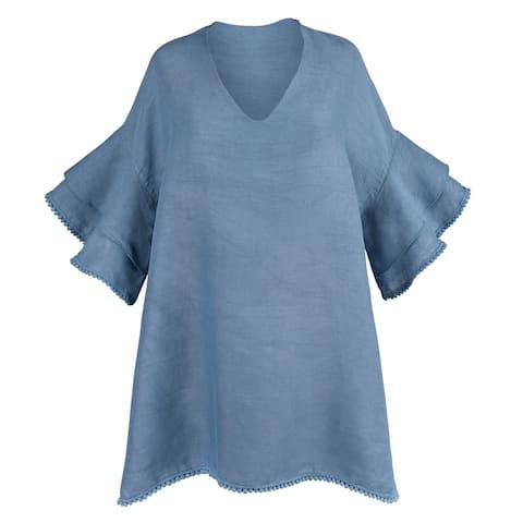 Catalog Classics Drop-Sleeve Linen Tunic Top - 3/4 Length Tiered Sleeves V-Neck