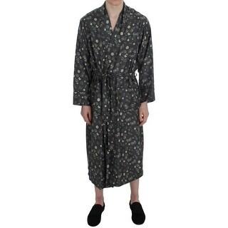 Dolce & Gabbana Green Dice Card Print Silk Sleepwear Robe