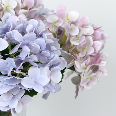 "G Home Collection Luxury Real Touch Hydrangea Stem in Light Purple and Light Pink 24"" Tall"