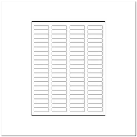 "Laser Label Sheet, 1-3/4"" x 1/2"", Bright White, Laser Finish, Flat Sheet and Pre-Die Cut Labels (Box of 100) - 1-3/4 x 1/2 in"