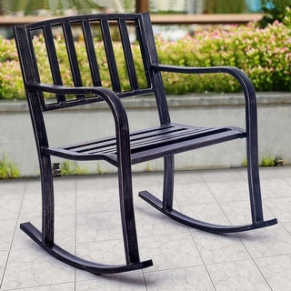 Costway Rocking Chair Patio Deck Metal Porch Seat Outdoor Backyard Glider Rocker