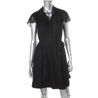 Kensie Womens Juniors Lace Chiffon Trim Casual Dress - XS
