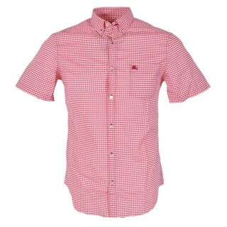 Burberry Brit Men's Fred Red White Check Short Sleeve Coton Shirt