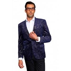 MZV-405 NAVY Men's Manzini Fancy Paisley design Velvet, sport coat