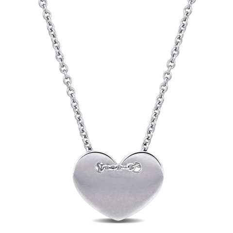 Miadora 18K White Gold Engravable Heart Necklace - 17.5 inch x 13 mm - 17.5 inch x 13 mm
