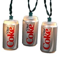 Set of 10 Blow Mold Diet Coca-Cola Can Party Christmas Lights - Green Wire - silver