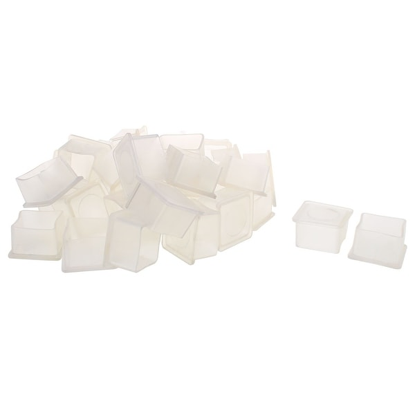 "Clear PVC Chair Leg Caps End Tip Feet Cover Furniture Glide Floor Protector 30pcs 1"" x 1"" (25x25mm) Inner Size"