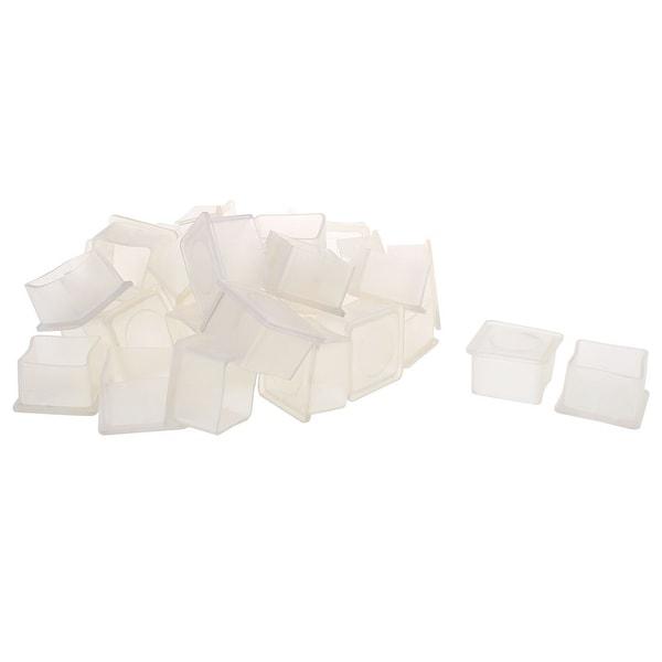 "Clear PVC Chair Leg Caps End Tip Feet Cover Furniture Glide Floor Protector 32pcs 1"" x 1"" (25x25mm) Inner Size"
