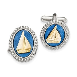 Silver and Goldtone Blue Enamel Sailboat Cuff Links