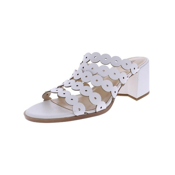 IMNYC Isaac Mizrahi Womens Faye Block Heels Strappy Open Toe