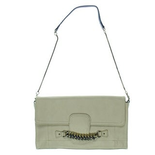 Jessica Simpson Womens Fearless Clutch Handbag Faux Leather Chain Trim - Medium