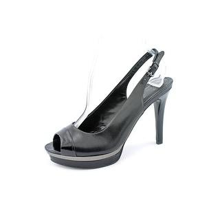 Marc Fisher Melissa Women Open-Toe Leather Black Slingback Heel