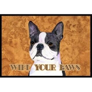 Carolines Treasures SS4884JMAT 24 X 36 In. Boston Terrier Wipe Your Paws Indoor Or Outdoor Mat