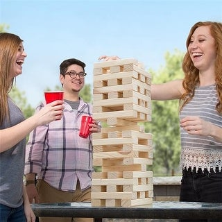 Hey Play Non-Traditional Giant Wooden Blocks Tower Stacking Game