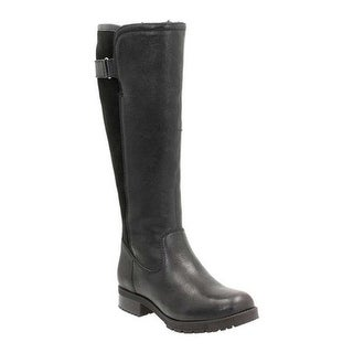 Clarks Women's Faralyn May Waterproof Knee High Boot Black Waterproof Goat Full Grain Leather/Cow Suede