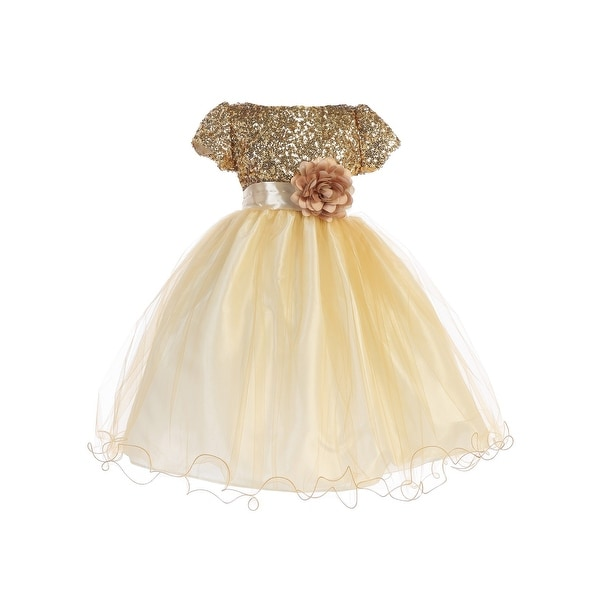 ebff2661f32 Shop Ellie Kids Little Girls Gold Sequin Tulle Wire Hem Flower Girl Dress 4- 6 - Free Shipping On Orders Over  45 - Overstock - 23089517