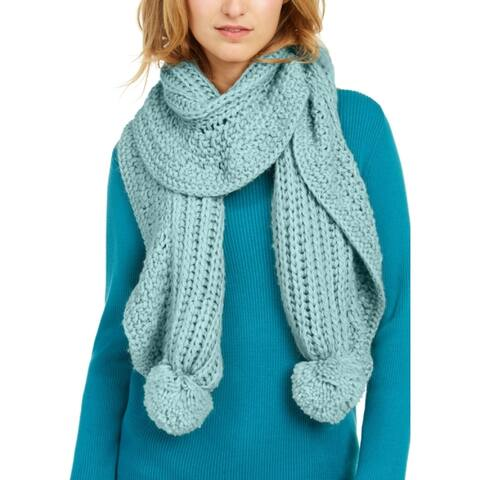 Charter Club Women's Ruffle-Knit Boa Scarf with Fluffy Knit Poms, Pale Green