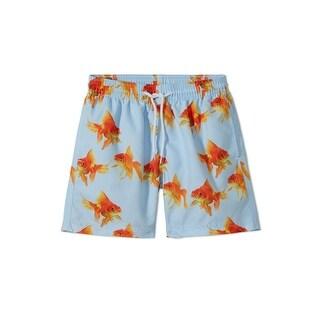 Stella Cove Big Boys Blue Orange Goldfish Printed Swimwear Trunks