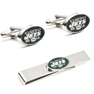 New York Jets Cufflinks and Tie Bar Gift Set - Green