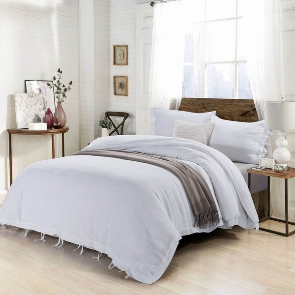 Stone Washed Linen Duvet Cover Set-Bow Ties. Opens flyout.