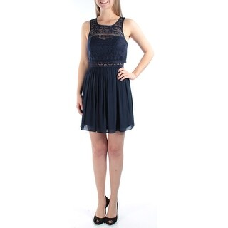 Womens Navy Sleeveless Above The Knee A-Line Dress Size: 3
