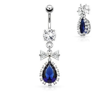 CZ Ribbon and Large Tear Drop CZ Center Dangle Surgical Steel Navel Ring - 14GA (Sold Ind.)