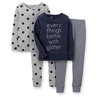 Carter's Little Girls' Everything's Better With Glitter 4 Piece Pajama Set- 2T