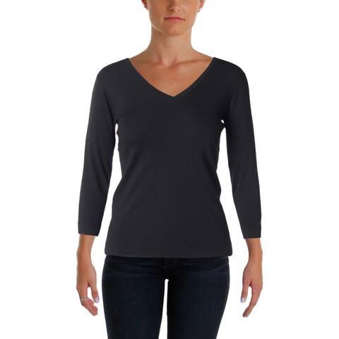 Three Dots Womens Knit Top 3/4 Sleeves V-Neck