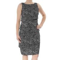 AMERICAN LIVING Womens Black Tiered Polka Dot Sleeveless Jewel Neck Knee Length Wear To Work Dress  Size: 6