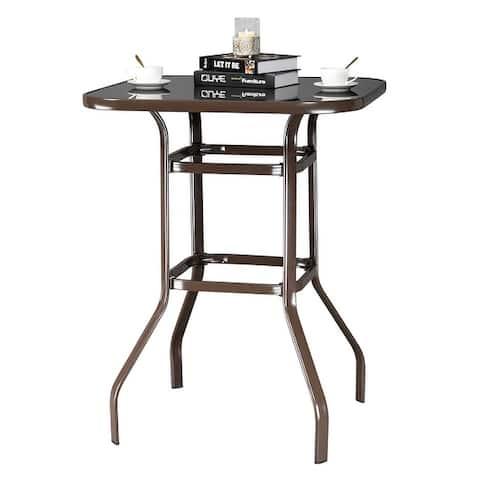 "39"" Wrought Iron Glass High Bar Table Patio Bar Table"