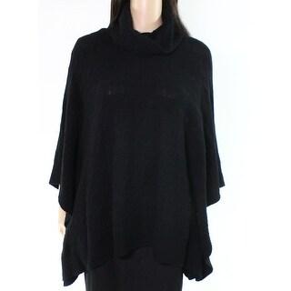 Polo Ralph Lauren Black Women's Medium M Cable Poncho Wool Sweater