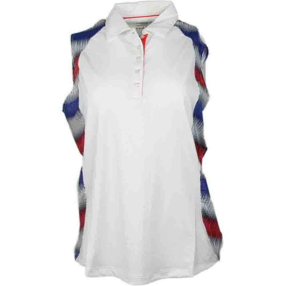 Page & Tuttle Womens Side Panel Print Sleeveless Golf Casual Polo