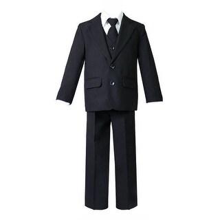 Baby Boys Black 5 Pcs Shirt Vest Jacket Tie Pants Suit