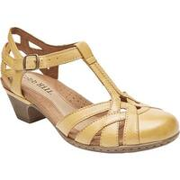 Rockport Women's Cobb Hill Aubrey T Strap Sandal Yellow Full Grain Burnished Leather
