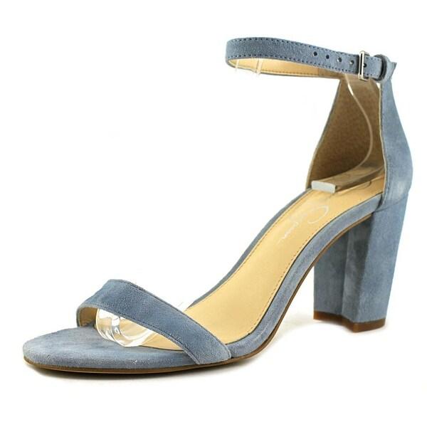 Jessica Simpson Monrae Women Open-Toe Suede Blue Heels