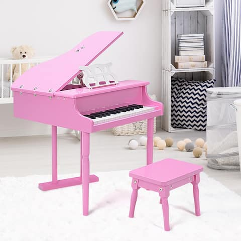 30 key Childs Toy Grand Baby Piano w/ Kids Bench Wood Pink