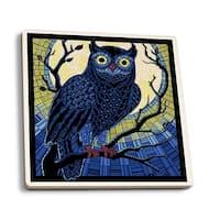Owl - Paper Mosaic - LP Artwork (Set of 4 Ceramic Coasters)