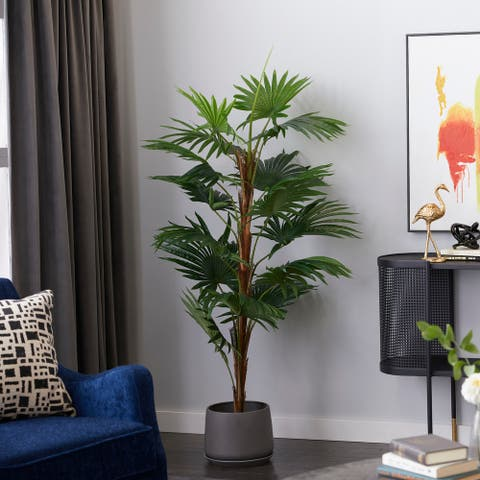 """Fountain Palm Tree Artificial Decorative Foliage For Indoors 65"""" Green - 34X31X65"""