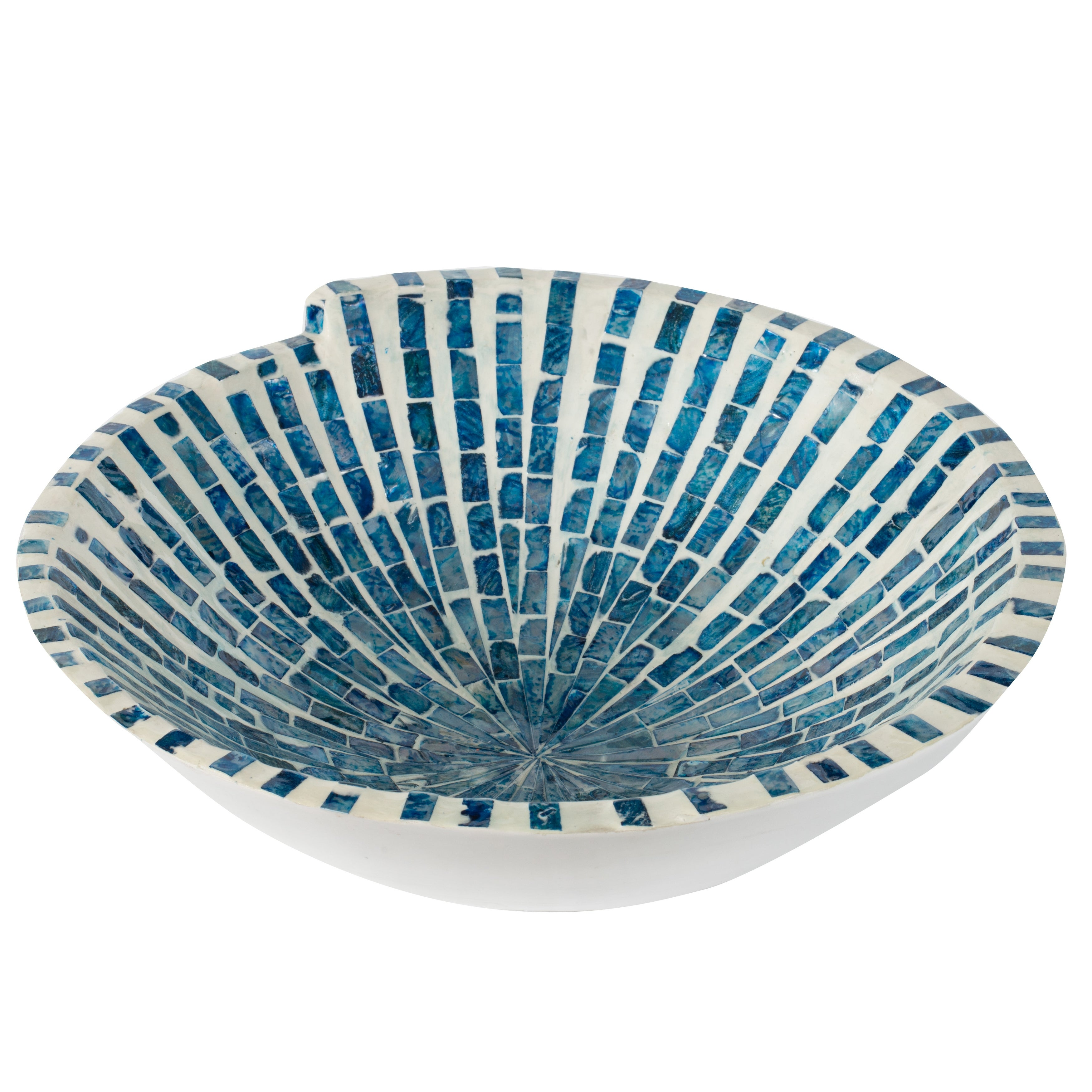 Costal And Cottage 15 Inch Pearl Blue And White Mosaic Tile Decorative Bowl Overstock 29660144
