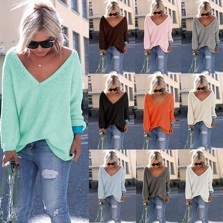 Oversized V Neck Knit Sweater Top