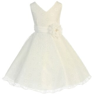 Flower Girl Dress V-Neck Overlay Chiffon Belt & Flower Ivory JK 3620