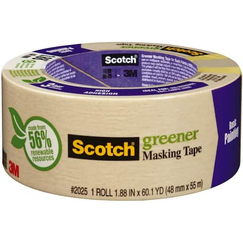 "Scotch 2025-48C Greener Masking Tape for Basic Painting, 1.88"" x 60.1 Yd"