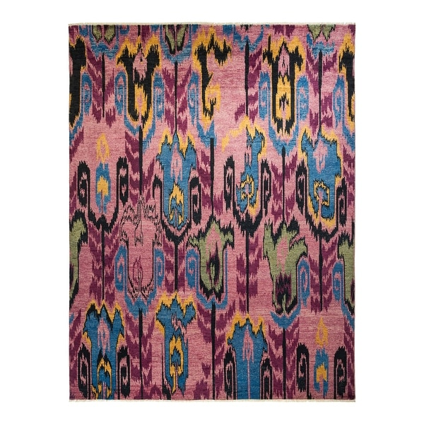 """Modern, One-of-a-Kind Hand-Knotted Area Rug - Purple, 8' 0"""" x 10' 4"""" - 8' 0"""" x 10' 4"""". Opens flyout."""