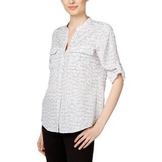 Calvin Klein Womens Button-Down Top Collarless Printed