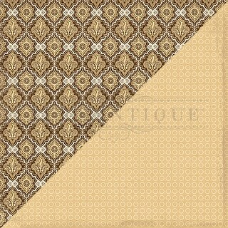"""Bountiful Double-Sided Cardstock 12""""X12""""-Gold & Brown Damask/Cream Circles"""