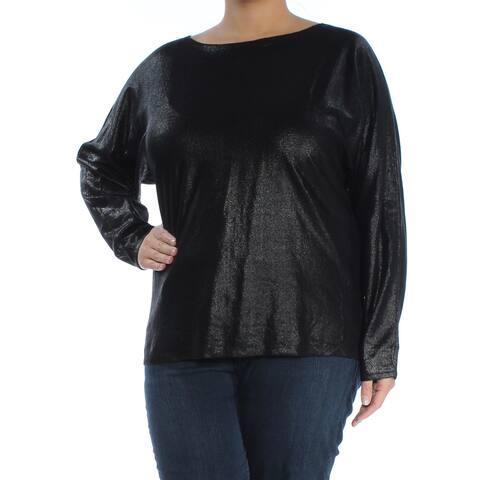 RALPH LAUREN Womens Black Dolman Sleeve Jewel Neck Tunic Top Size XL