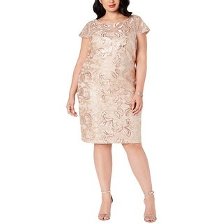 Calvin Klein Womens Plus Cocktail Dress Lace Sequined - Beige