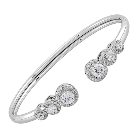 """Cuff Bangle Bracelet With Crystal in Sterling Silver, 7"""" - White"""